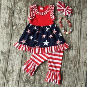 Other - Boutique Patriotic Tunic Dress Girls Outfit Set